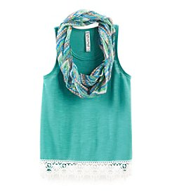 Beautees Girls' 7-16 High-Low Lace Hem Top