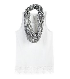Beautees Girls' 7-16 Racerback Tank With Scarf