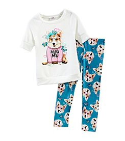 Beautees Girls' 4-6X Dog Sweatshirt With Leggings