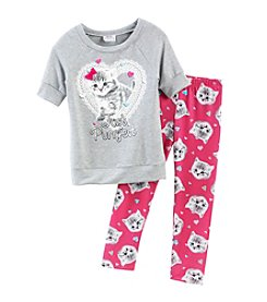 Beautees Girls' 4-6X Kitten Sweatshirt With Leggings