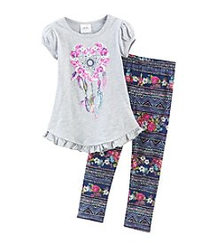 Beautees Girls' 4-6X Dreamcatcher Shirt With Leggings