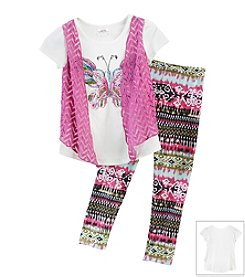 Beautees Girls' 4-6X Butterfly Cozy Top With Leggings