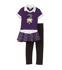 Beautees Girls' 4-6X Owl Polo With Skirt And Leggings