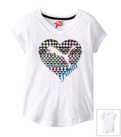 PUMA® Girls' 4-6X Geo Cat Cuffed Tee