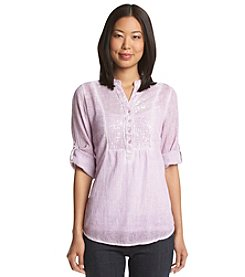Relativity® Sequin Woven Bib Shirt