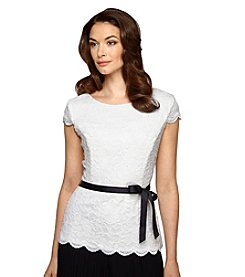 Alex Evenings® Belted White Blouse