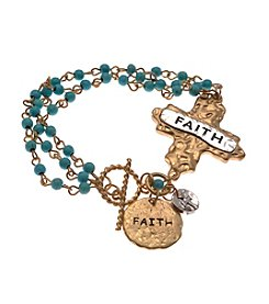 L&J Accessories Goldtone Turquoise Bead Faith Cross Charm Bracelet