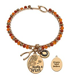 L&J Accessories Goldtone Orange Bead Wishbone Horseshoe Charm Bracelet