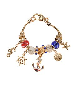 L&J Accessories Anchor Starfish Goldtone Charm Bracelet