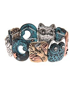 L&J Accessories Tri Tone Patina Metal Owl Stretch Bracelet