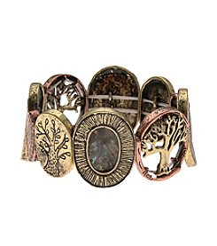 L&J Accessories Tree Of Life Abalone Two Tone Stretch Bracelet