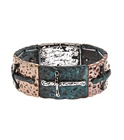 L&J Accessories Tri Tone Patina Cross Wide Stretch Cuff Bracelet