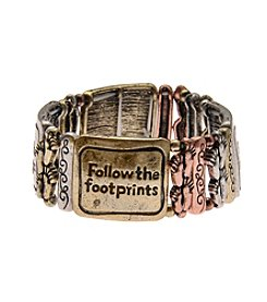 L&J Accessories Tri Tone Follow Your Footprints Stretch Metal Bracelet