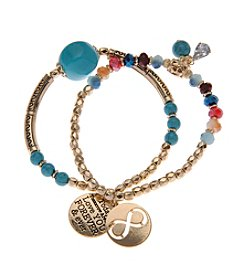 L&J Accessories Goldtone Turquoise Angel Coin Charm Stretch Bracelet
