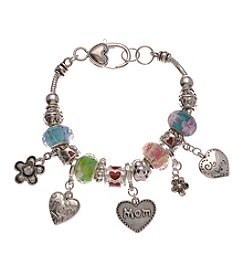 L&J Accessories Silvertone Pastel Flower Mom Charm Bracelet