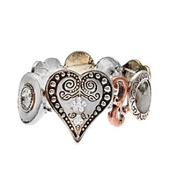 L&J Accessories Tri Tone Heart Stretch Bracelet