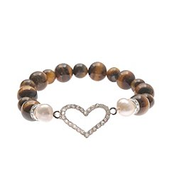 L&J Accessories Silvertone Stretch Bracelet With Pave Heart Icon