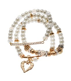 L&J Accessories Goldtone And White Faux Pearl Triple Row Stretch Bracelet