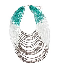 Erica Lyons® Silvertone Multi Strand Colorblocked Statement Necklace
