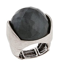 Erica Lyons® Silvertone Grey Matter Dome Stretch Ring