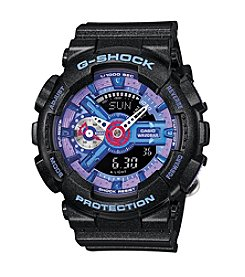 G-Shock Women's S-Series Black Analog-Digital Watch with Violet-Blue Dial Accents