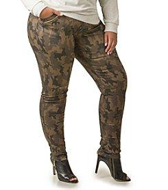 Poetic Justice® Plus Size Maya Camo Zipper Skinny Jeans