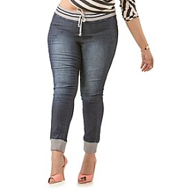 Poetic Justice® Plus Size Timika Denim Jogger