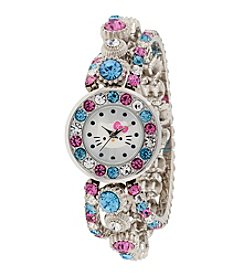 Hello Kitty® Silvertone Multistone Watch in Tin