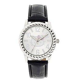 Hello Kitty® Silvertone Black Padded Croco Strap Watch
