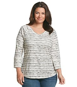 Ruff Hewn Plus Size Burnout Stripe Rib V-neck Top