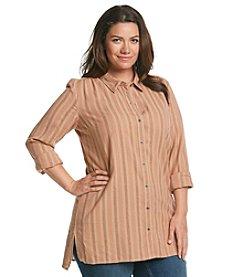 Ruff Hewn Plus Size Gauze Stripe Tunic