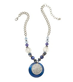 Ruby Rd.® Silvertone Beaded Pendant Necklace