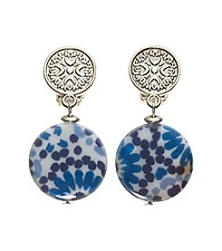 Ruby Rd.® Silvertone Textured Top Print Disc Bottom Earrings