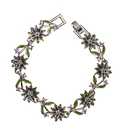 Napier® Silvertone And Purple Flower Bracelet In Gift Box
