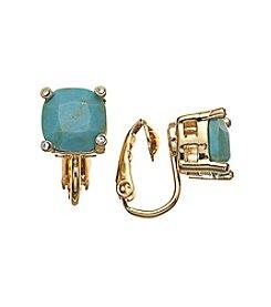 Lauren Ralph Lauren Gold Color Mingle Turquoise Clip Faceted Stone Stud Earrings