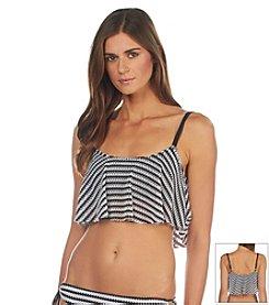 Kenneth Cole REACTION® Crochet Stripe Crop Swim Top