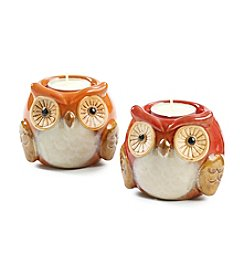 LivingQuarters Ceramic Owl Tealight Holder