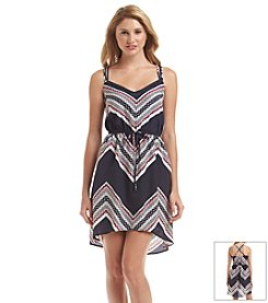 Be Bop Chevron Printed Blouson Dress
