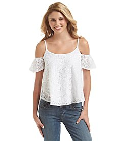 Jessica Simpson Lace Cold Shoulder Top