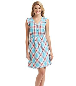 Kensie® Plaid Flutter Dress