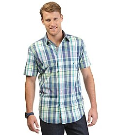 Nautica® Men's Short Sleeve Medium Plaid Shirt