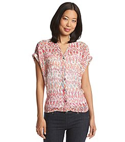 Vince Camuto® Printed Button Front Top