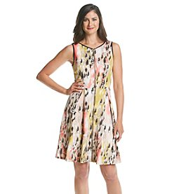 JAX® Printed Zip Front Scuba Dress