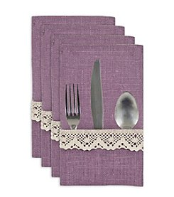 Chooty® Lavender Burlap with Spider Lace Set of 4 Table Setting