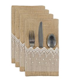 Chooty® Natural Burlap with Lace Set of 4 Table Setting