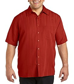 Island Passport® Men's Big & Tall Short Sleeve Solid Stripe Camp Shirt