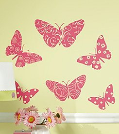 RoomMates Wall Decals Flocked Butterfly Peel & Stick Wall Decals