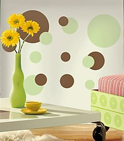 RoomMates Just Dots Green and Brown P&S Wall Decals
