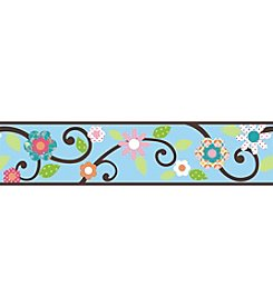 RoomMates Wall Decals Blue and Brown Scroll Floral Peel & Stick Border