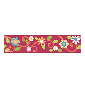 RoomMates Magenta and Orange Scroll Floral P & S Border Deca